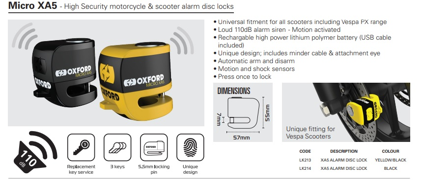 Oxford Micro XA5 alarm disc lock