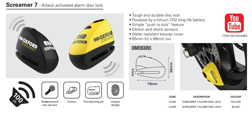 Oxford Screamer XA7 Alarm disc lock