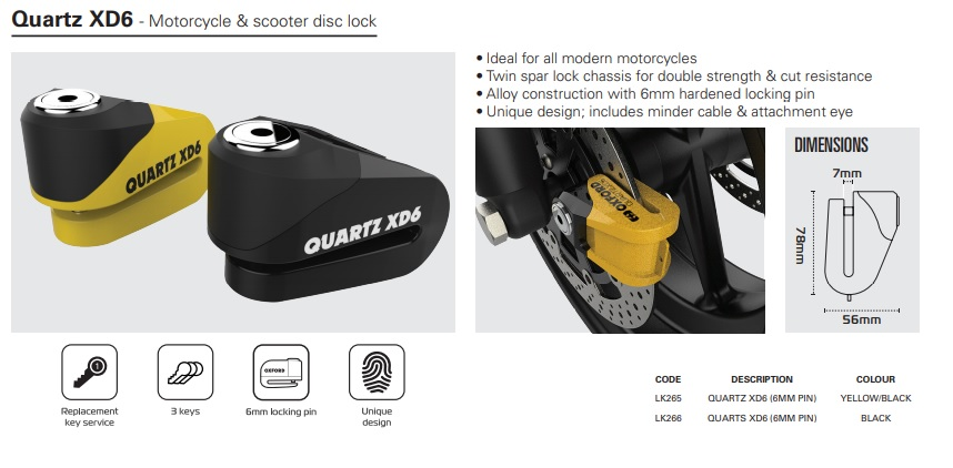 Oxford Quartz XD6 disc lock