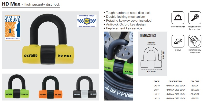 Oxford HD Max mini shackle lock