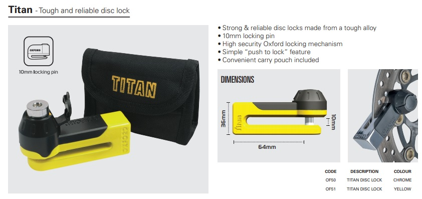 Oxford Titan Disc lock and pouch