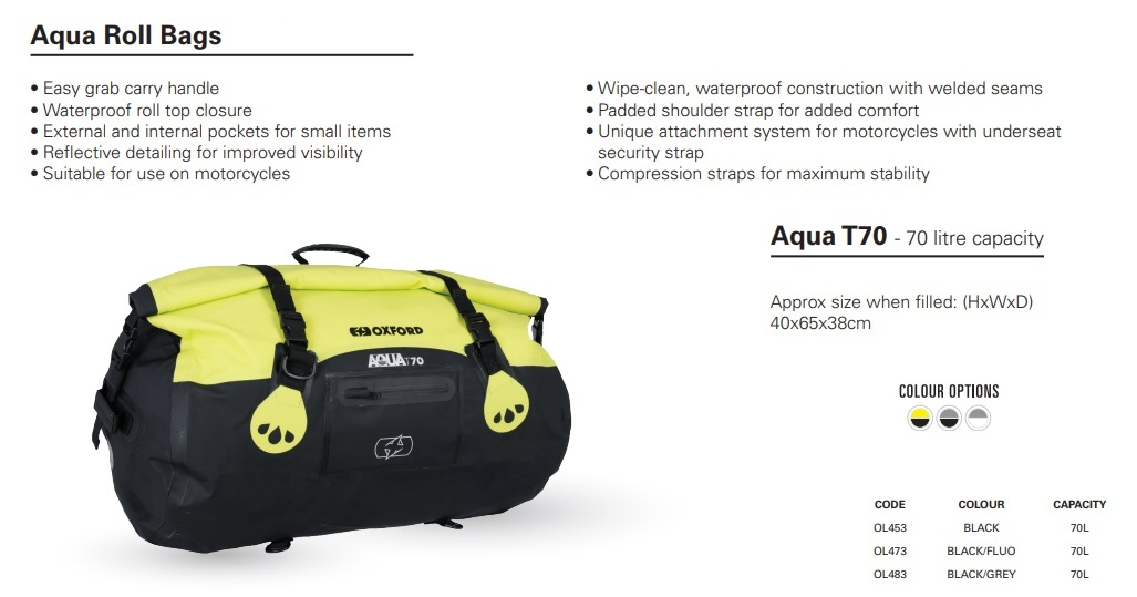 Oxford Aqua all weather Roll bag - T70