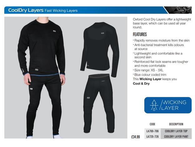 Oxford Cool dry fast wicking layers