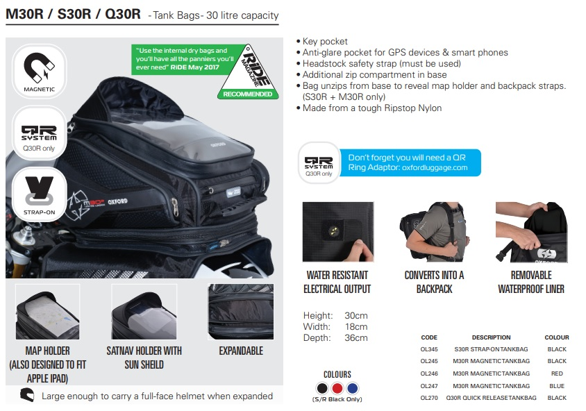 Oxford M30R S30R Q30R tank bag