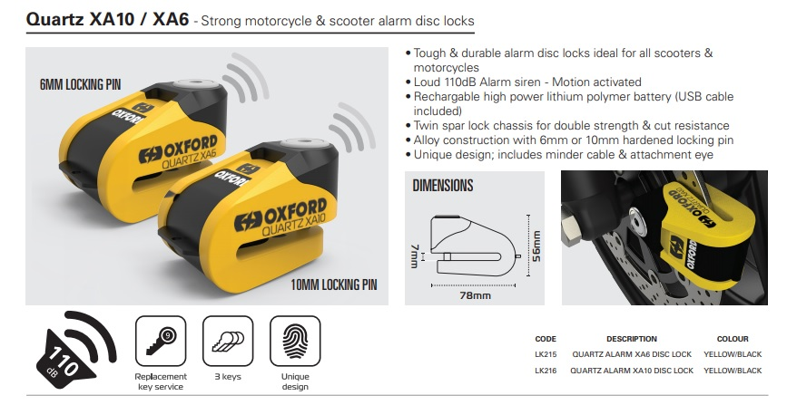 Oxford Quartz XA alarm disc lock