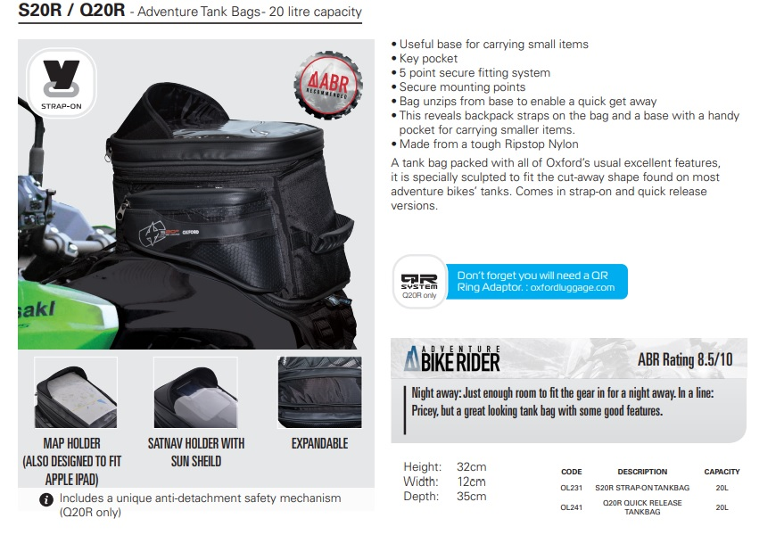 Oxford S20R / Q20R Adventure tank bag